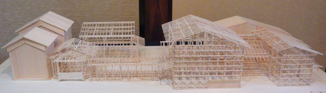 暑い夏でも意外と涼しい中庭の京都の町家(断面模型)