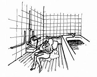 洗い場に敷いたスノコの上で転がりながら体を洗う!
