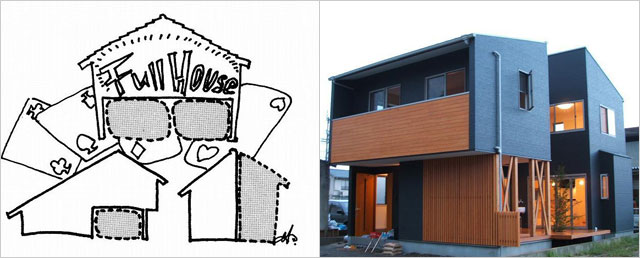 (左)将来のためにスペースに余裕を持つ家(体育館住宅),(右)将来のためにスペースに余裕を持つI邸