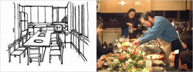 パーティキッチン大テーブル(左),A邸 ステーキハウス?(右)