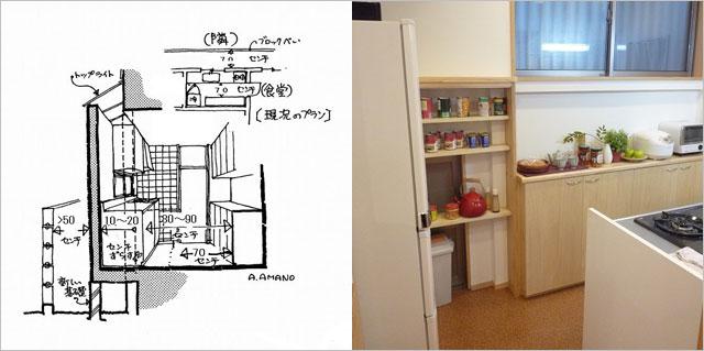 わずか10~20センチの増築?で広々キッチン、10センチほどの増築?で台所収納