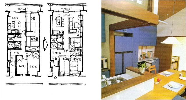 間仕切り移動でマンションの快適リフォーム、間仕切りを取るだけで広々キッチンI様邸