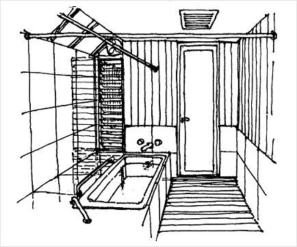 狭い浴室肘の当たる壁を出窓で広く