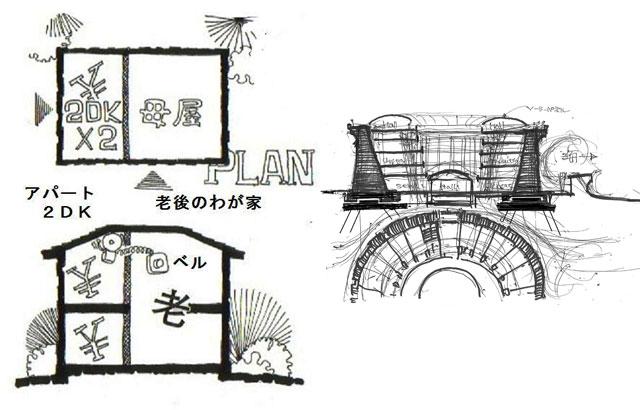 江戸の町の下宿屋を現代に、減築し安心なアパートに、新集落HAKKASECTION&PLAN