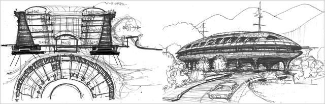 復興住宅案、「簡易な防潮堤」・「囲われた家」