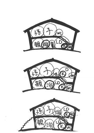 階段付近をメディア空間とした親子同居断面図