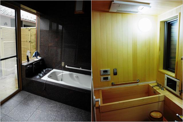 実例紹介、ゴージャスな御影石の浴室、すべてが桧の浴室
