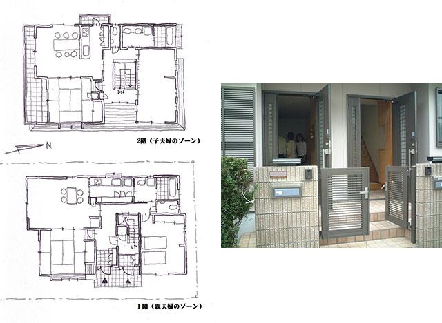 実例プラン 玄関は別でも中は一体同居住宅