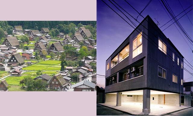 白川郷合掌造り、現代の3、4世帯同居の家