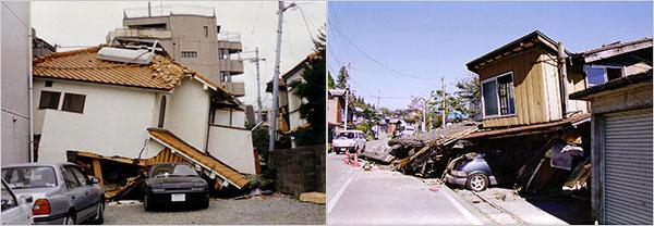 駐車場の角の柱一本のため倒壊した家