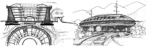 中国永定客家の土楼風円型の集合住宅群(画:筆者)、沿岸部の船形橋脚の上のコロニー案(画:筆者)