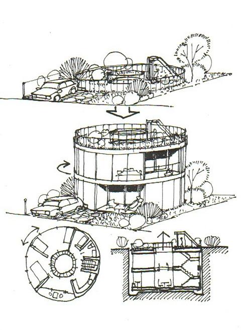 イラスト:浮き沈み?回転ハウス。(画:筆者)