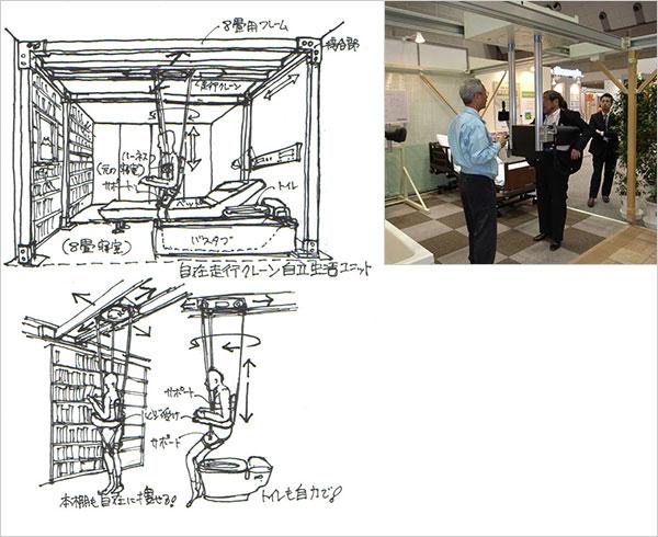 イラストと写真:私の事務所で開発中の天井自在サポートシステム