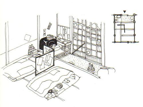 イラスト:くまさん八つぁんの江戸の裏長屋の住まい(筆者画)