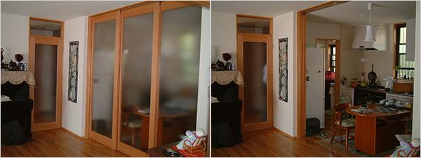 写真1、2:DK開閉の間仕切り引き戸例I邸(筆者撮影)