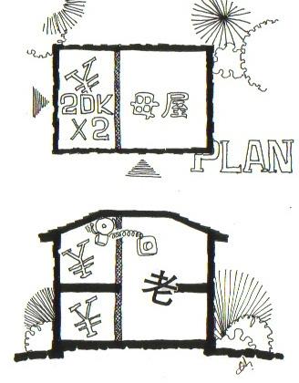 イラスト1:減築して2LDKが二戸のイメージ断面図