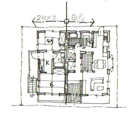 イラスト1:今までの家を減築し残りの1,2階に2LDKを2戸