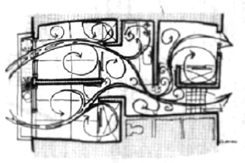 イラスト3:賃貸のアパートも家具の配置ドアの開け方で風通しが良くなる