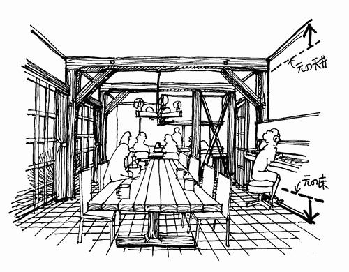 イラスト1:室内からも方杖(ほうづえ)や柱梁(はしらはり)の補強など少しずつでも耐震強化に努める