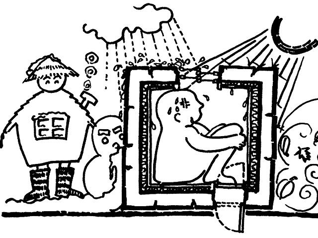 イラスト2:夏の「傘の家」と蒸れる「壁の家」(画:天野彰)