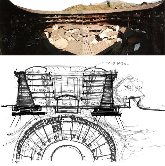 イラスト・写真1:中国永定の「客家」円楼のような、円形防災『街の核』(画:天野 彰)