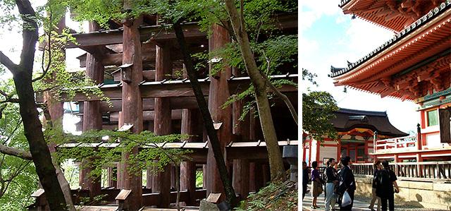 写真1(左):清水の舞台を支える柱・梁・貫・楔の懸崖構造(写真:天野 彰) 写真2(右):同じ清水寺の三重塔 (写真:天野 彰)