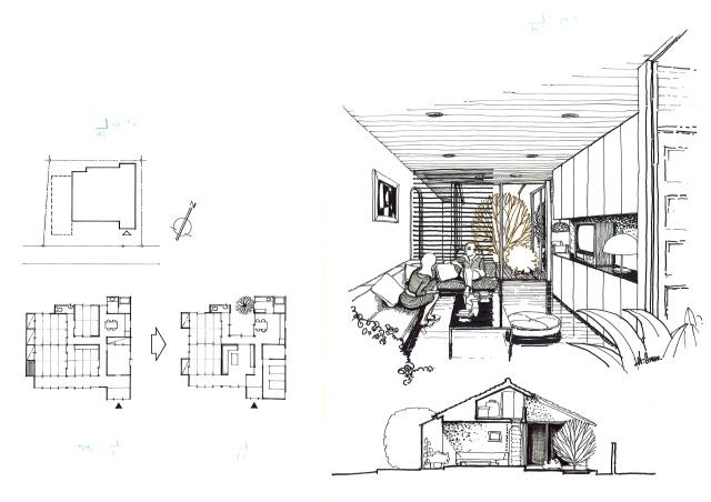イラスト1「減築」の原画となったプラン、同断面、減築後のリビングパースなど(画:天野 彰)