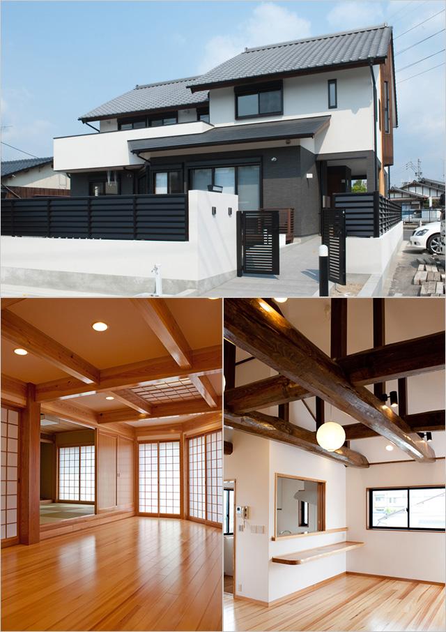 写真:佐賀、O邸/(上)外観,(左下)1階親側のLDK,(右下)2階子側のLDK(写真:天野 彰)