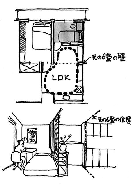 イラスト:今の2LDKの壁を透明にしたプラン(画:天野彰)