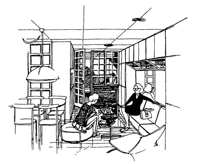 イラスト:イラスト:子ども部屋とLDKの間仕切りスケッチ(画:天野彰)