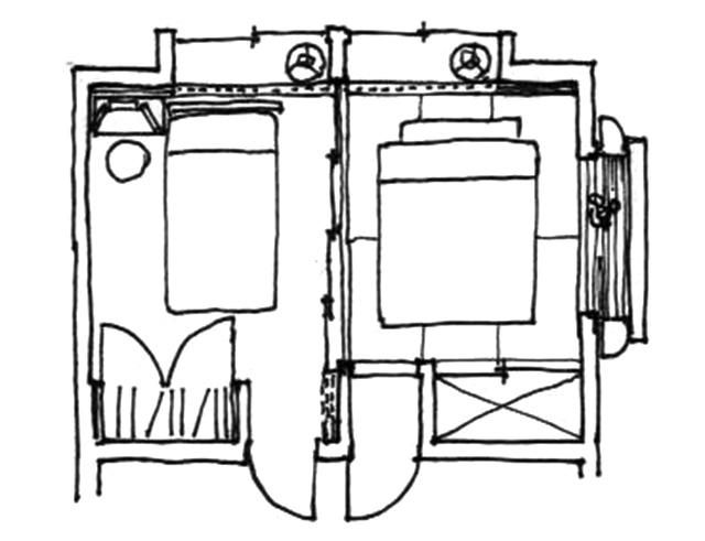 イラスト2:たとえ狭くとも夫婦二つになれる「夫/婦寝室」(画:天野彰)