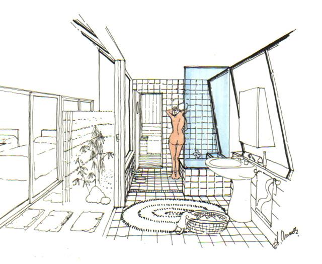 イラスト:入浴も開放的で色っぽく(画:天野彰)