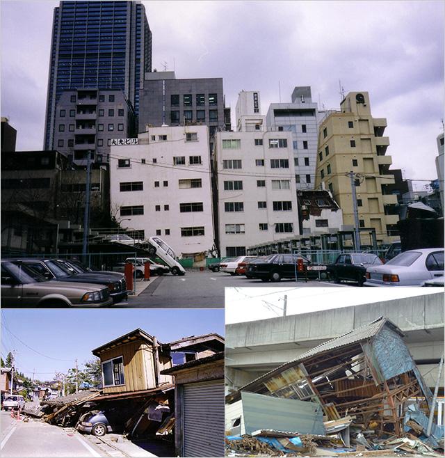 写真1~3:阪神大震災、中越、さらに東日本・・・ (撮影:天野彰)
