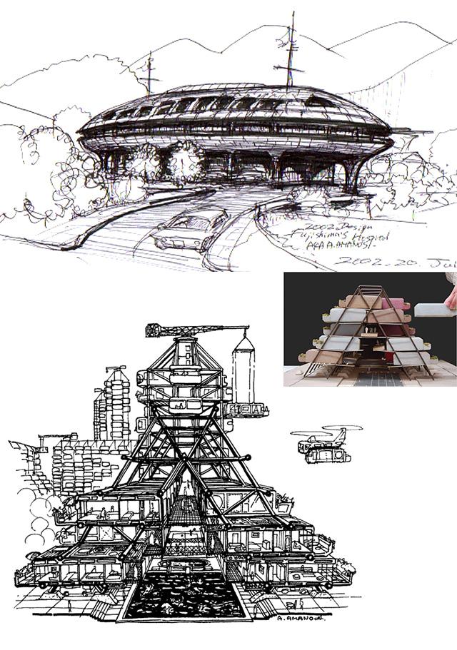 イラスト2:沿岸部の船形やフレーム橋脚の上のコロニー案と模型写真