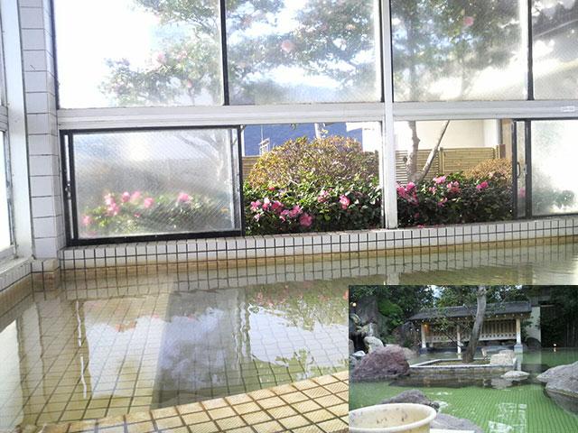 写真1・2:庭園のような露天風呂「別府温泉しらぎく」(天野彰)