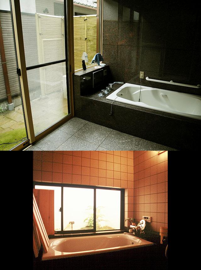 写真4・5:中庭に面した開放的な浴室 -下呂NA様邸(写真:天野彰)