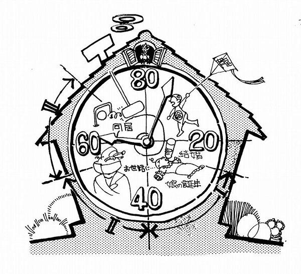 イラスト1:住まいの「人生時計」(画:天野彰)