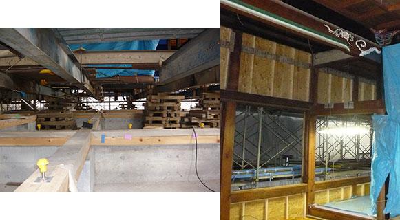 写真:「曳家」して杭を打ち新基礎の土台回り・「曳家」で戻し建ちを補正し耐震強化
