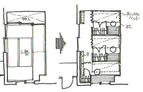 2DKの6畳ひと間を3つの折り畳みベッド付収納家具で仕切る(画:天野彰)