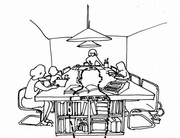 家族の書斎リビング(画:天野彰)