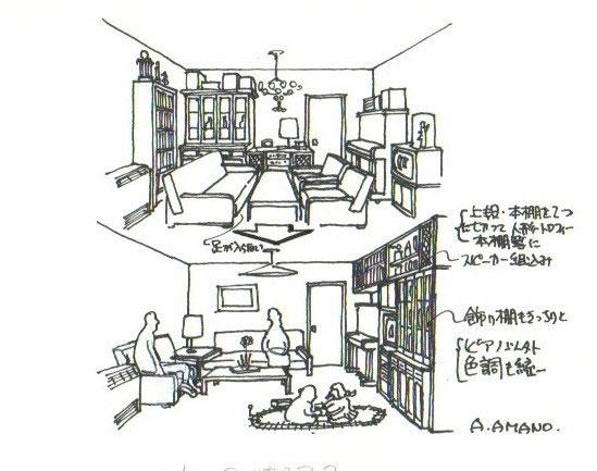イラスト1:リビングにあるものすべてを積み上げ固定する(画:天野彰)