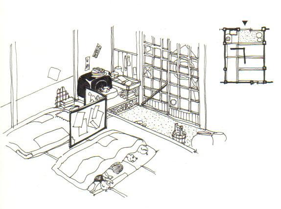 イラスト1:何度も紹介する江戸の裏長屋の生活(画:天野彰)
