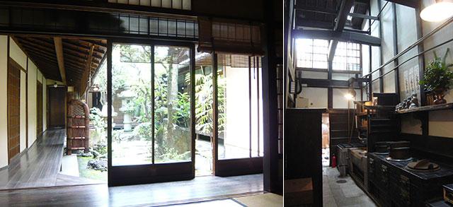 京都の町家:住まいの八方から植栽が見えいかにも涼しげ・玄関から裏の台所まで続く通り庭(天野彰)