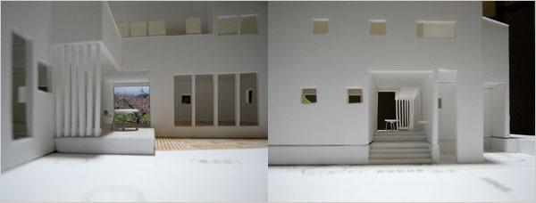 完全分離型 アルコーヴ兼屋外デッキスペースによるコミュニティゾーン例の模型